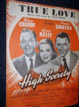 VINTAGE ORIGINAL SHEET MUSIC 1955 TRUE LOVE HIGH SOCIETY CROSBY SINATRA KELLY
